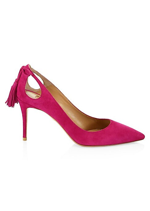 """Image of Cutout detail with bow adds femininity to essential suede pumps. Suede upper. Point toe. Slip-on style. Leather lining. Padded insole. Leather sole. Made in Italy. SIZE. Self-covered heel, 3.25"""" (85mm)."""