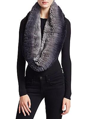 00eb7a7b30e The Fur Salon - Knitted Rabbit Fur Infinity Scarf