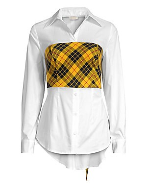 Image of A preppy plaid bodice with bow back gives this classic cotton shirt a modern twist. Point collar Long sleeves Button cuffs Button front Concealed side zip Smocked back with self-tie Seamed and gathered detail Cotton Dry clean Made in USA SIZE & FIT About