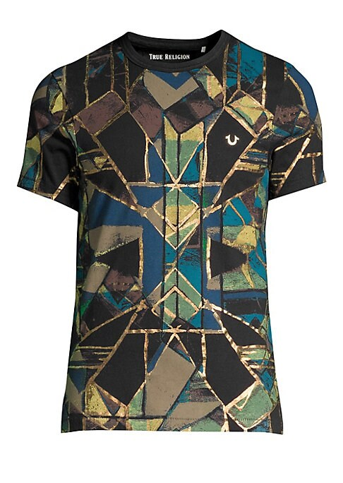 """Image of A geometric stained-glass print trimmed with metallic accents defines this cotton T-shirt. Banded crewneck. Short sleeves. Pullover style. Cotton. Machine wash. Imported. SIZE & FIT. About 27"""" from shoulder to hem."""