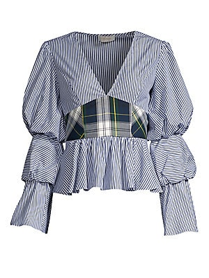 """Image of ONLY AT SAKS. A preppy plaid bodice defines this flirty ruffle top with pinched statement sleeves. V-neck Long sleeves Side zip closure Peplum hem Gathered detail Cotton Dry clean Made in USA SIZE & FIT Flounce silhouette About 21"""" from shoulder to hem Mo"""