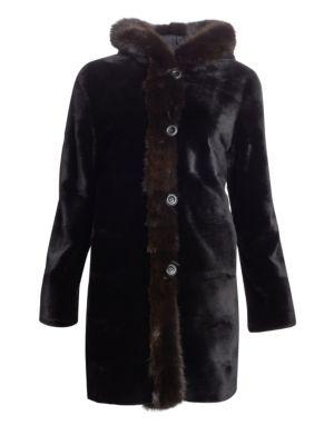 THE FUR SALON Reversible Hooded Mink & Sable Fur Coat in Black