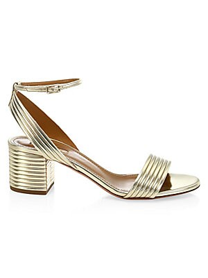"Image of Ankle-strap sandals with a metallic ribbed finish. Textile upper Open toe Adjustable buckled ankle strap Leather lining and sole Padded insole Made in Italy SIZE Self-covered ribbed block heel, 1.5"" (40mm). Women's Shoes - Aquazzura. Aquazzura. Color: Lig"