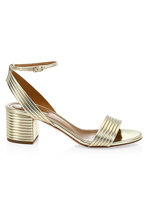"""Image of Ankle-strap sandals with a metallic ribbed finish. Textile upper. Open toe. Adjustable buckled ankle strap. Leather lining and sole. Padded insole. Made in Italy. SIZE. Self-covered ribbed block heel, 1.5"""" (40mm)."""