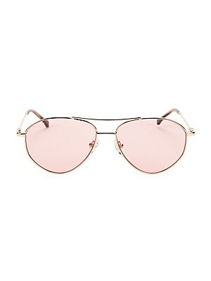 Image of On-trend metal aviator silhouette with gradient lenses. 100% UV protection Gradient lenses Cloth and case included Metal Imported SIZE 57mm lens width 15mm bridge width 135mm temple length. Soft Accessorie - Sunglasses. Colors in Optics. Color: Blue Gold.