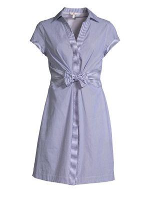Vineyard Vines Tie Front Striped Shirtdress