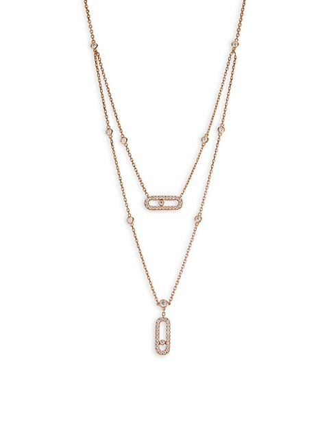 Move Classic 18K Rose Gold & Diamond Pavé Two-Row Pendant Necklace
