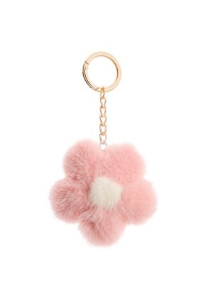 Dyed Mink Flower Keychain by The Fur Salon