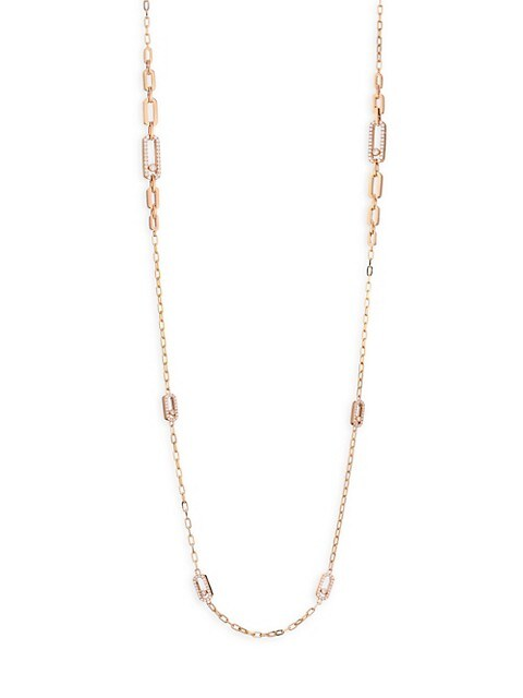 Move Classic 18K Rose Gold & Diamond Sautoir Chain Necklace