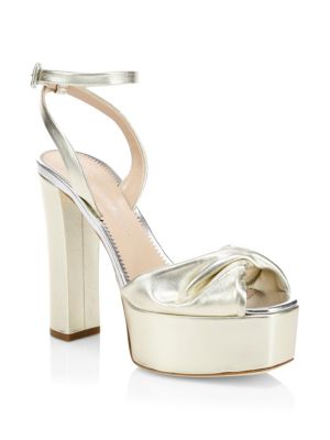 Lavinia Metallic Leather Ankle-Strap Sandals in Gold