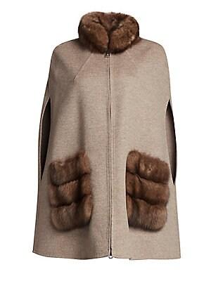 b6e0dfa8dbb Manzoni 24 - Sable Fur Trim Wool Blend Poncho - saks.com