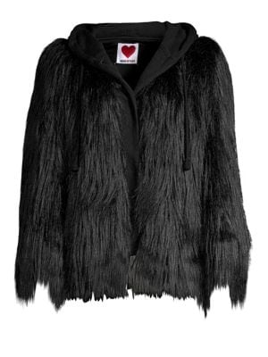 HOUSE OF FLUFF Yeti Oversized Faux Fur And French Terry Hooded Coat in Black