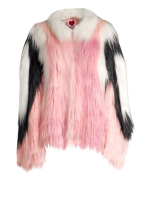 HOUSE OF FLUFF Convertible Cape Faux Fur Jacket in Pink