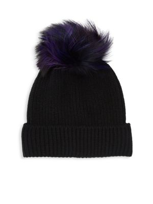 AMICALE Fox Fur Pom-Pom Beanie in Multicolor