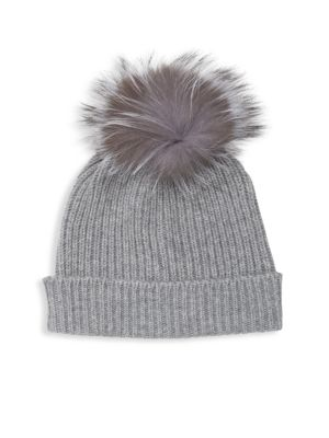 AMICALE Fox Fur Pom-Pom Beanie in Grey