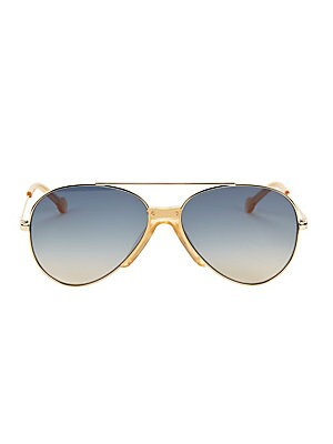 Image of On-trend polished metal aviator silhouette with brow bar. 100% UV protection Gradient lenses Cloth and case included Metal Made in Italy SIZE 61mm lens width 15mm bridge width 140mm temple length. Soft Accessorie - Sunglasses > Saks Fifth Avenue. Colors i