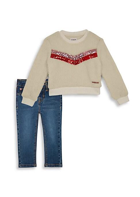 Baby Girls  Little Girls TwoPiece Sequin Pullover  Jeans Set