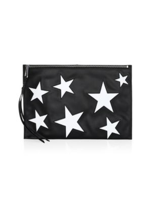 Large Star Patch Leather Pouch in Black