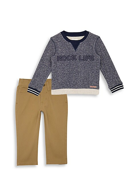 Baby Boys  Little Boys TwoPiece Rock Life Pullover  Pants Set