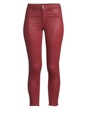 9a8bb9c5e2 L Agence Margot Coated High-Rise Skinny Jeans - Md. Red Size 25 ...