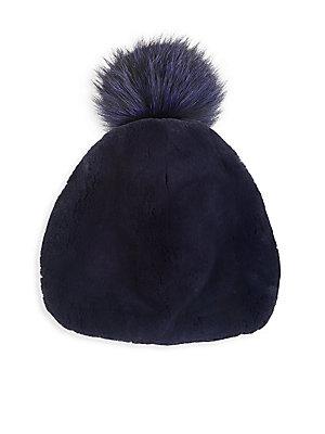 2c48dccda3170 Julia   Stella - Rabbit Fur   Fox Fur Pom-Pom Beanie