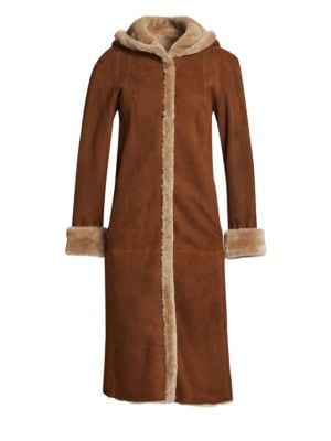 THE FUR SALON Zinnia Hooded Shearling Jacket in Earth