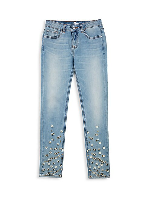 Image of Delicate embroidered daisies adorn skinny five-pocket jeans crafted in comfortable stretch cotton blend. Belt loops. Zip fly with button closure. Five-pocket styling. Cotton/polyester/spandex. Machine wash. Imported.