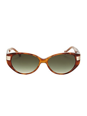 Image of Retro essential bold design with gradient lenses. 100% UV protection Gradient lenses Plastic Made in Italy SIZE 54mm lens width 15mm bridge width 140mm temple length. Soft Accessorie - Sunglasses > Saks Fifth Avenue. Colors in Optics. Color: Honey.