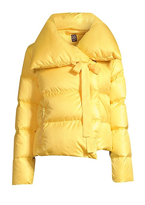 Image of Boasting an exaggerated collar with a tie detail and a cropped length, this is a fresh and feminine take on the cozy puffer jacket. Spread collar with self-tie. Long sleeves. Concealed snap button front. Waist zippered welt pockets. Lined. Polyester. Fill