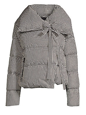 Image of Compact puffer coat flaunts a houndstooth design and a fanciful self-tie embellishment. Oversized spread collar Long sleeves Concealed snap-button front with self-tie neck closure Waist zip pockets Shell/lining: Polyamide Fill: Duck down Machine wash Impo