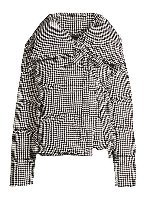 Image of Compact puffer coat flaunts a houndstooth design and a fanciful self-tie embellishment. Oversized spread collar. Long sleeves. Concealed snap-button front with self-tie neck closure. Waist zip pockets. Shell/lining: Polyamide. Fill: Duck down. Machine was