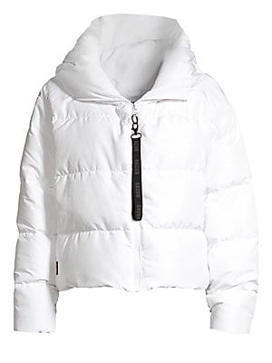 """Image of On-trend chunky puffer coat with a logo zip front. Puffed spread collar Long sleeves Front zip close with logo pull Concealed side zip pockets Lined Polyester Fill: Duck down Dry clean Imported SIZE & FIT Puffer silhouette About 22"""" from shoulder to hem M"""