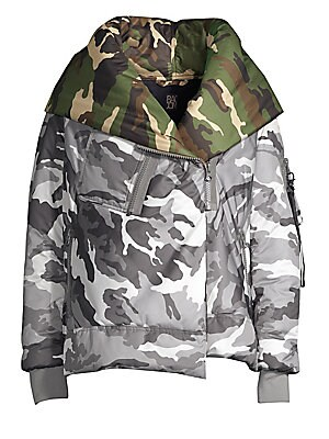 Image of Camo-print lends versatile undertones to this oversized jacket. Attached hood Long sleeves with zip compartment Rib-knit cuffs Concealed zip front and asymmetric snap-button front Chest zip patch pocket Waist zip pockets Polyamide lining Polyester Fill: P