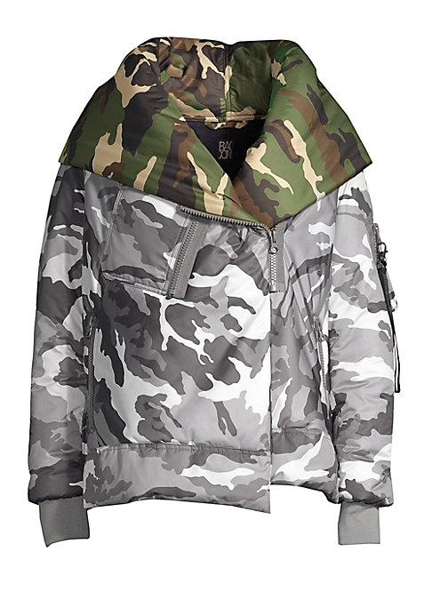Image of Camo-print lends versatile undertones to this oversized jacket. Attached hood. Long sleeves with zip compartment. Rib-knit cuffs. Concealed zip front and asymmetric snap-button front. Chest zip patch pocket. Waist zip pockets. Polyamide lining. Polyester.