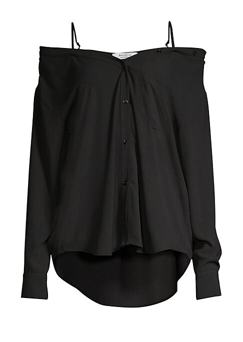 """Image of Boyfriend-style dress shirt in a romantic off-the-shoulder style for a modern twist. Off-the-shoulder. Adjustable spaghetti straps. Long sleeves. Button front. Button cuffs. Shirttail hem. Polyester. Machine wash. Made in USA. SIZE & FIT. About 27"""" from s"""