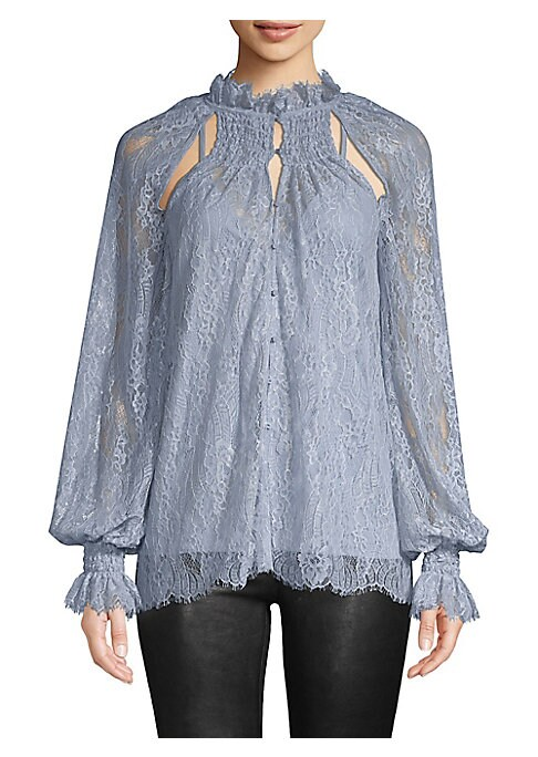 "Image of Neckline cutouts and billowing sleeves add flirty boho appeal to this lace blouse. Ruffle collar. Peasant sleeves. Button front. Curved lace hems. Lined. Nylon/viscose. Dry clean. Imported. SIZE & FIT. About 27.5"" from shoulder to hem. Model shown is 5'10"