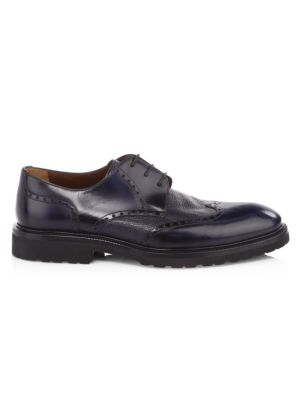 A. TESTONI Royal Leather Derby Shoes in Night