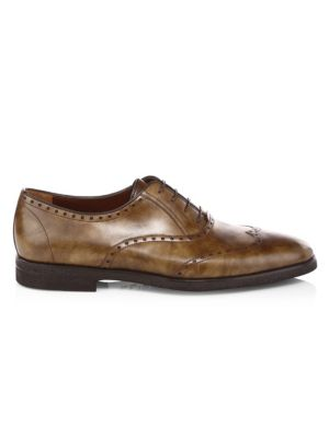 A. TESTONI Royal Leather Derby Oxfords in Caramel