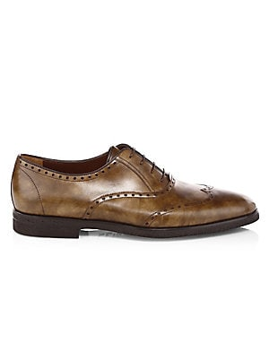 Image of Refined oxfords pair smooth and grained leather Leather upper Almond toe Lace-up vamp Leather lining Rubber sole Made in Italy. Men's Shoes - Mens Classic Footwear. A. Testoni. Color: Caramel. Size: 12.