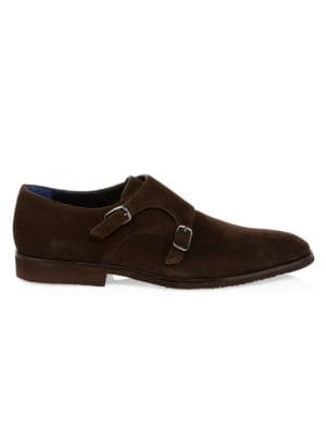 A. TESTONI Casual Suede Monk Strap Shoes in Pepper