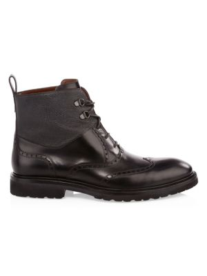 A. TESTONI Leather Derby Boots in Black