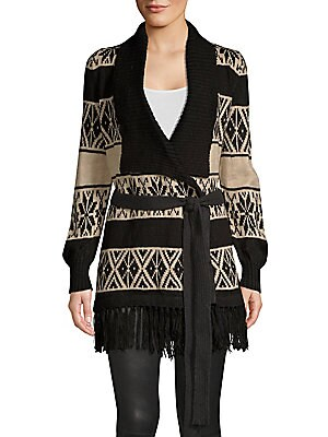 """Image of Cozy and soft alpaca-blend wrap cardigan in wintry two-tone pattern accented with a fringed hem and self-tie belt. Shawl collar Long sleeves Crossover open front Self-tie belt Fringed hem Alpaca/acrylic Hand wash Imported SIZE & FIT About 32"""" from shoulde"""