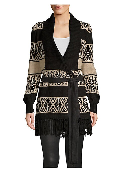 """Image of Cozy and soft alpaca-blend wrap cardigan in wintry two-tone pattern accented with a fringed hem and self-tie belt. Shawl collar. Long sleeves. Crossover open front. Self-tie belt. Fringed hem. Alpaca/acrylic. Hand wash. Imported. SIZE & FIT. About 32"""" fro"""