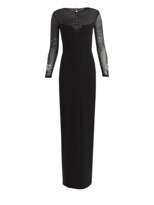SAFIYAA Gianna Crepe Beaded Gown in Black