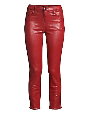 "Image of Leather-look coated jean with a chic cropped leg. Five pocket styling Zip fly Cropped skinny leg Cotton/polyester/lycra/spandex Dry clean Made in the USA SIZE & FIT Rise, about 10"" Leg-opening, about 12"" Inseam, about 25.5"" Model shown is 5'10"" (177cm) we"