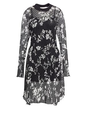 See By Chlo Floral Lace Dress In Black White Modesens