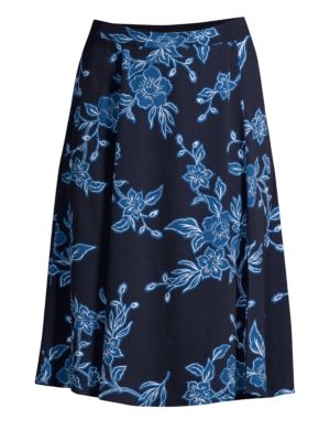 Shadow Floral A-Line Skirt, Navy
