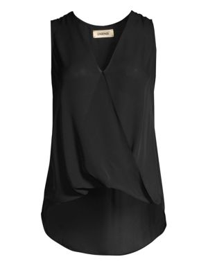 Mila Draped Silk Surplice Blouse in Black from L'AGENCE