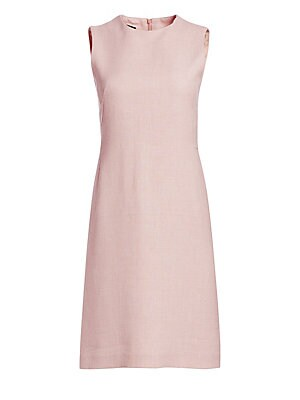 Image of A blush pink hue lends itself well to the textured linen and wool fabrication of the dress. Its minimalist sheath silhouette is sleeveless and reaches to above the knee. Roundneck Sleeveless Concealed back zip closure Lined Linen/wool Dry clean Made in Sw