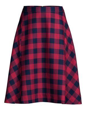 Buffalo Check Midi Skirt in Cerise Pin